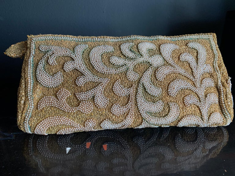 Women's 1950s Harry Rosenfeld Gold Filigree Lace and Faux Pearl Embroidered Clutch For Sale
