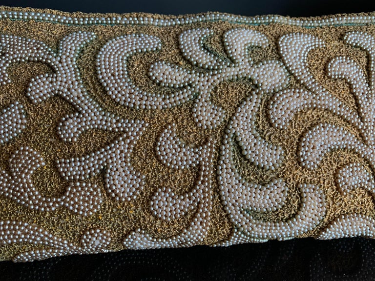 1950s Harry Rosenfeld Gold Filigree Lace and Faux Pearl Embroidered Clutch For Sale 1