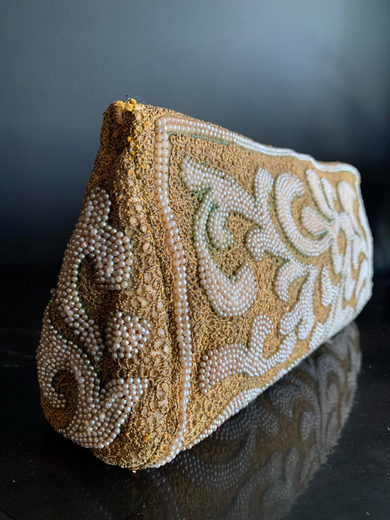 1950s Harry Rosenfeld Gold Filigree Lace and Faux Pearl Embroidered Clutch For Sale 3