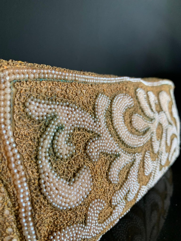 1950s Harry Rosenfeld Gold Filigree Lace and Faux Pearl Embroidered Clutch For Sale 4