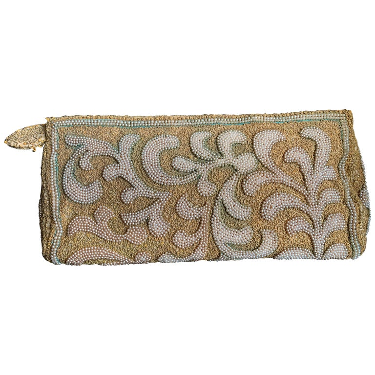 1950s Harry Rosenfeld Gold Filigree Lace and Faux Pearl Embroidered Clutch For Sale