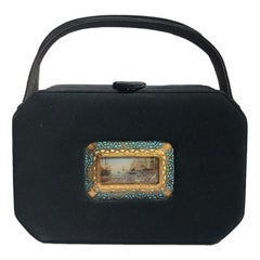 1950s Harry Rosenfeld Suede Hand Bag with Painted Italian Miniature