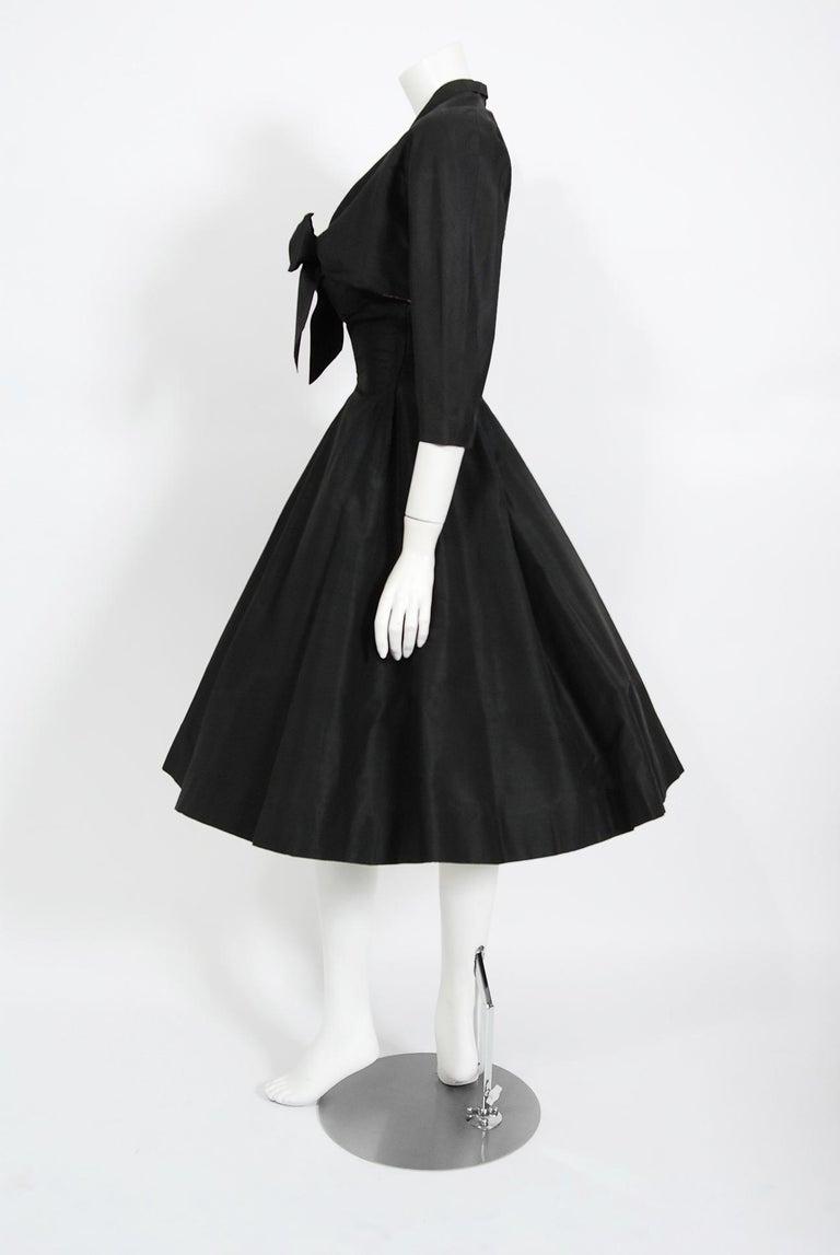 Vintage 1950's Harvey Berin Black Silk Lace Illusion Strapless Dress & Bolero For Sale 7