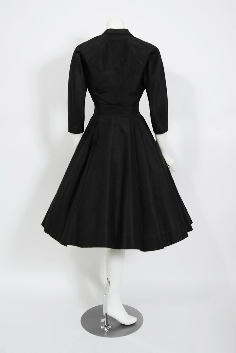 Vintage 1950's Harvey Berin Black Silk Lace Illusion Strapless Dress & Bolero For Sale 8