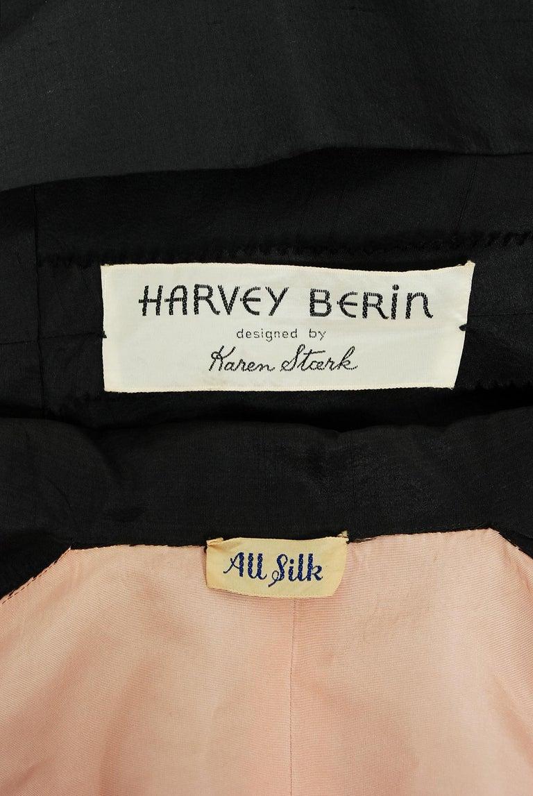 Vintage 1950's Harvey Berin Black Silk Lace Illusion Strapless Dress & Bolero For Sale 9