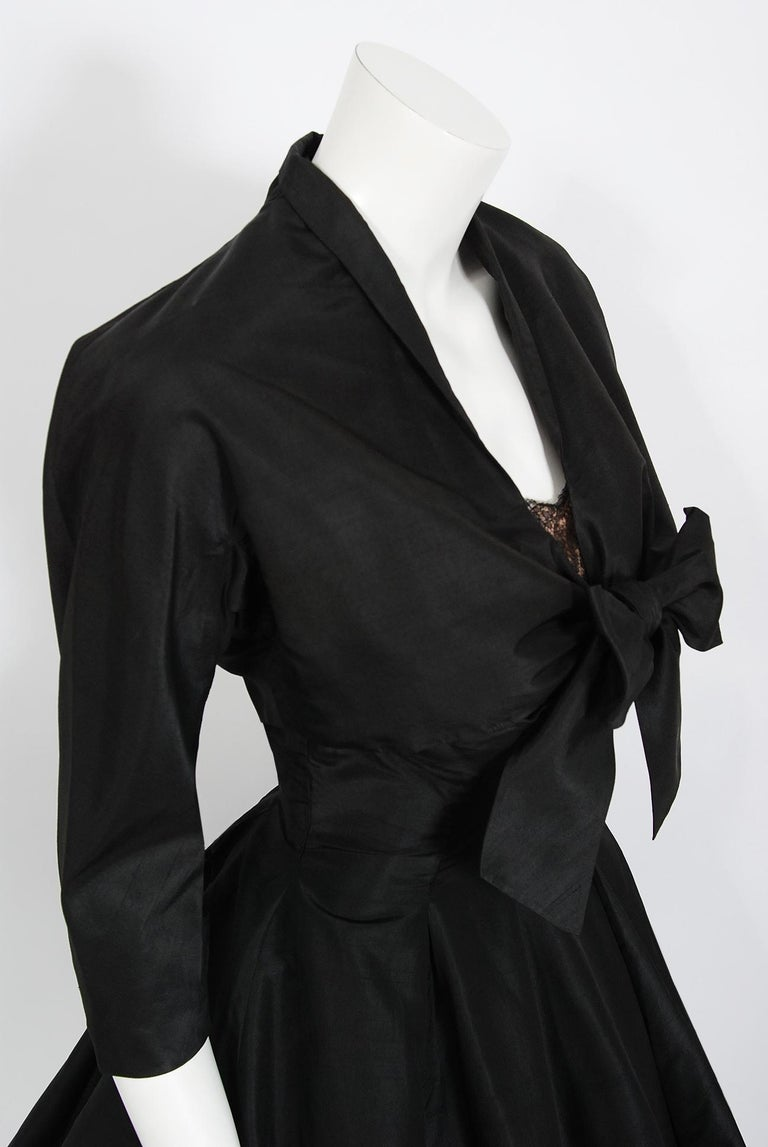 Vintage 1950's Harvey Berin Black Silk Lace Illusion Strapless Dress & Bolero In Good Condition For Sale In Beverly Hills, CA