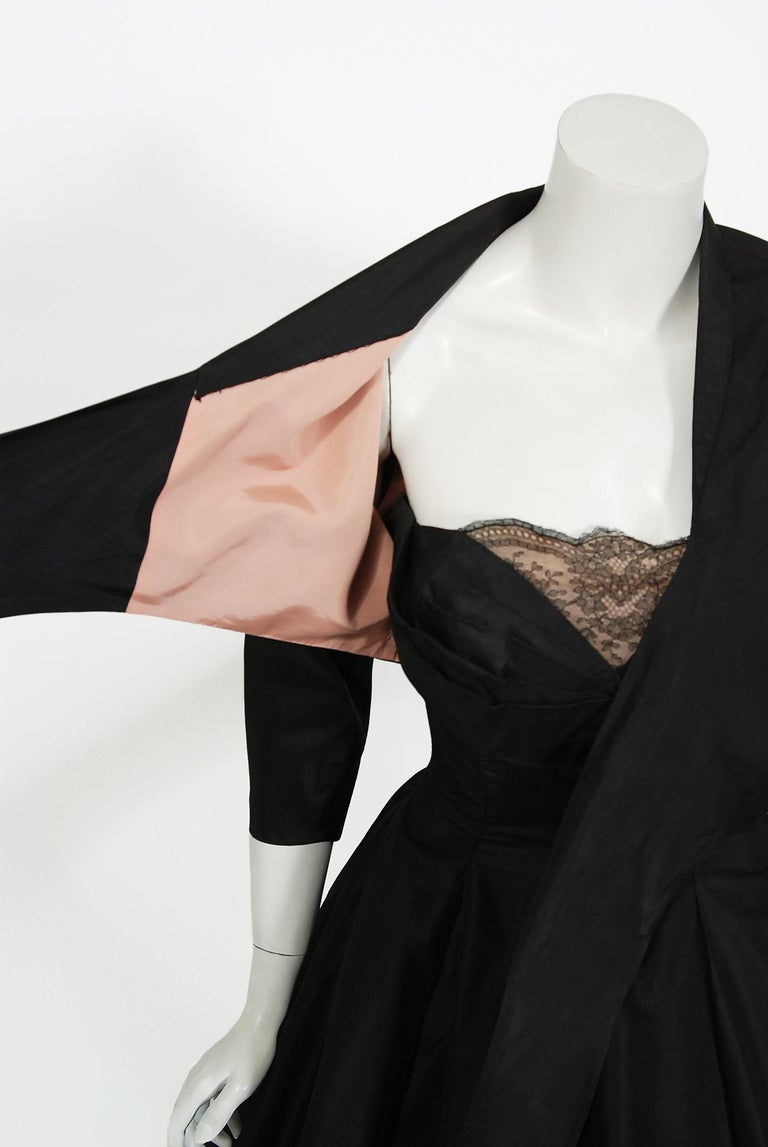 Women's Vintage 1950's Harvey Berin Black Silk Lace Illusion Strapless Dress & Bolero For Sale