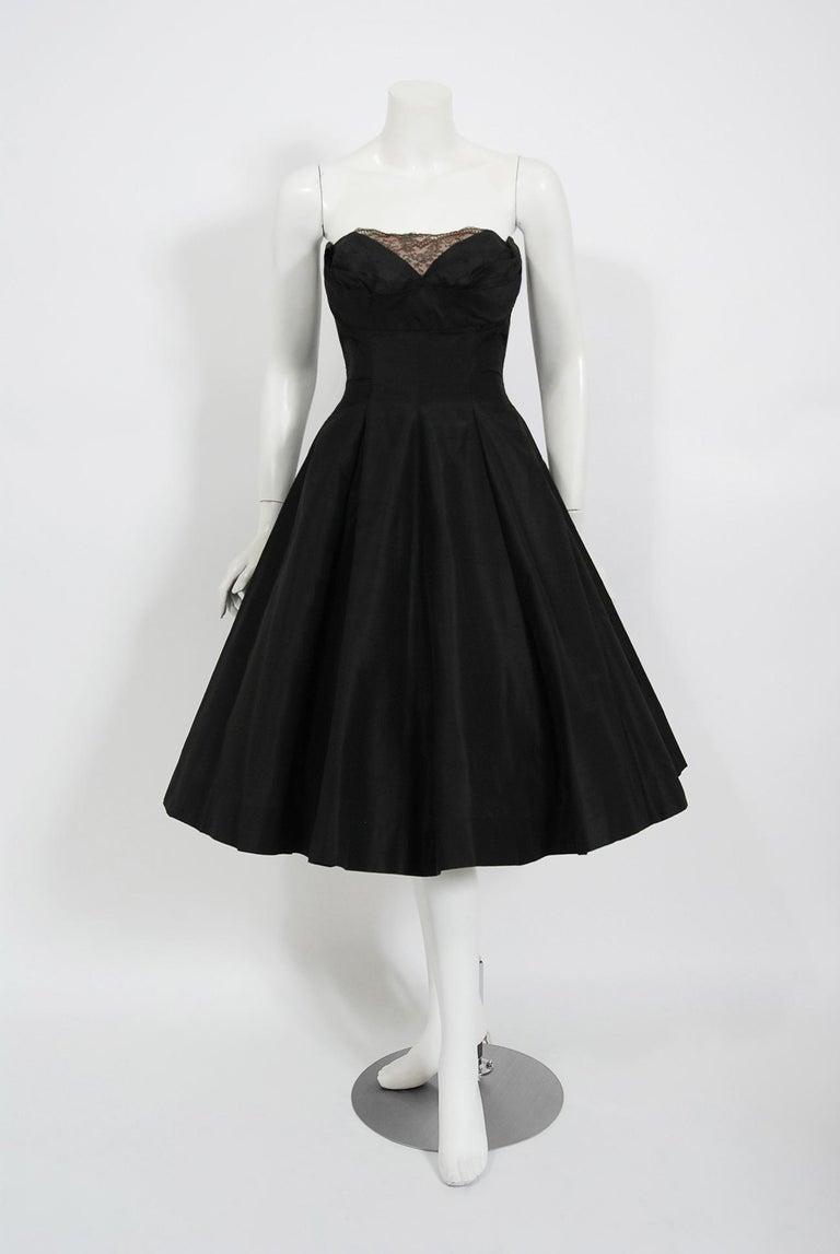 Vintage 1950's Harvey Berin Black Silk Lace Illusion Strapless Dress & Bolero For Sale 1