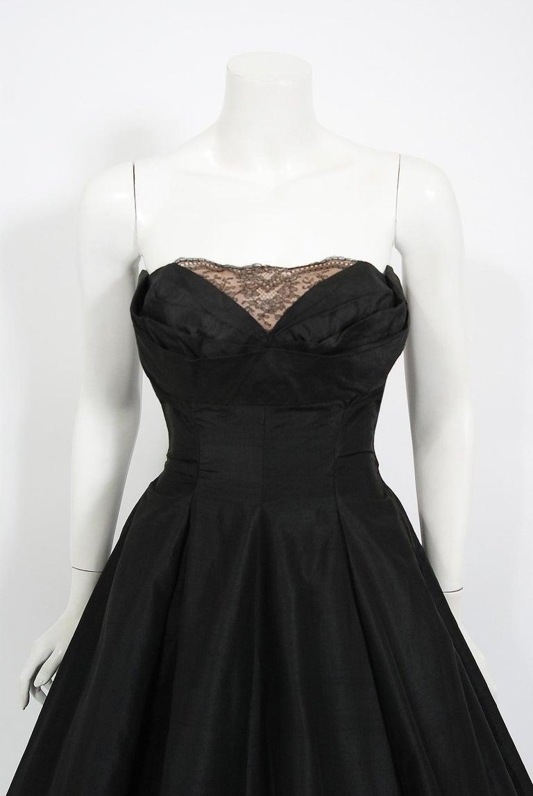 Vintage 1950's Harvey Berin Black Silk Lace Illusion Strapless Dress & Bolero For Sale 2