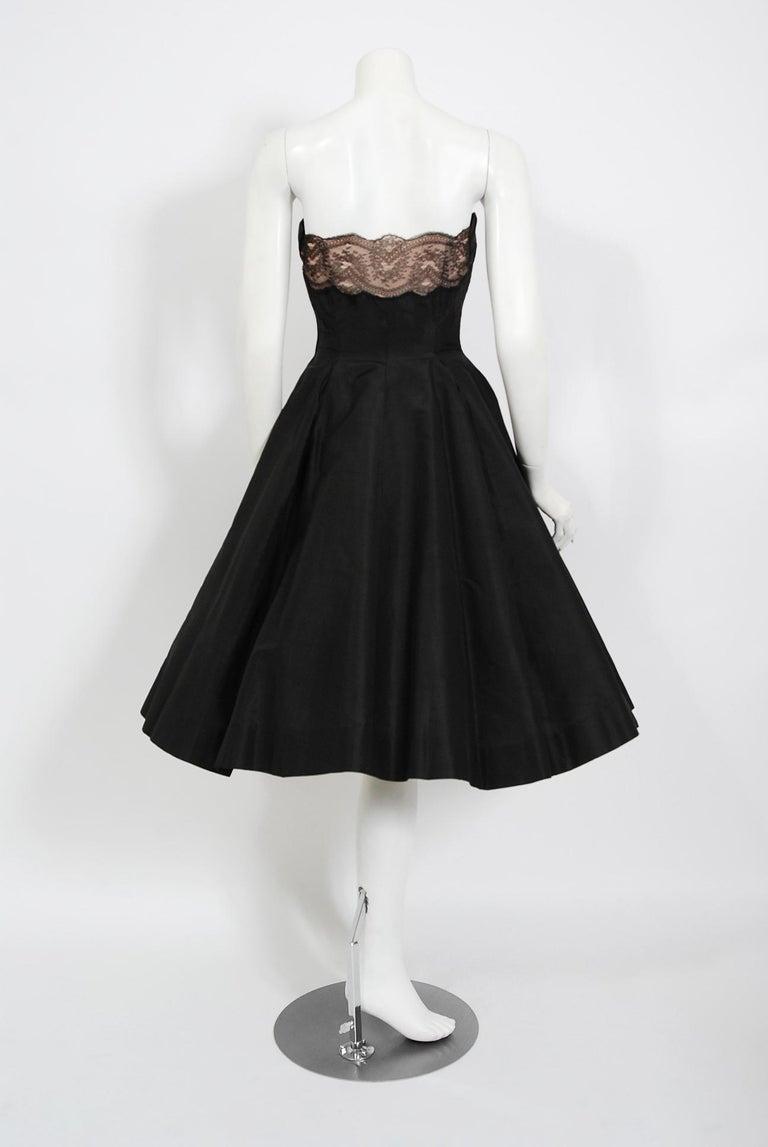 Vintage 1950's Harvey Berin Black Silk Lace Illusion Strapless Dress & Bolero For Sale 5