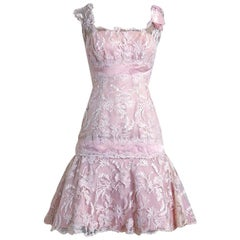 1950's Harvey Berin Pale Pink Chantilly Lace and Silk Shelf-Bust Flounce Dress
