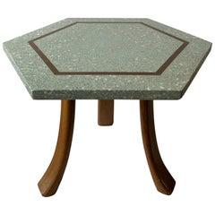 1950s Harvey Probber Blue Terrazzo Tripod Side Table