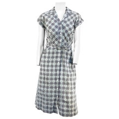 1950s Hattie Carnegie Cotton Day Shirt Waist Dress
