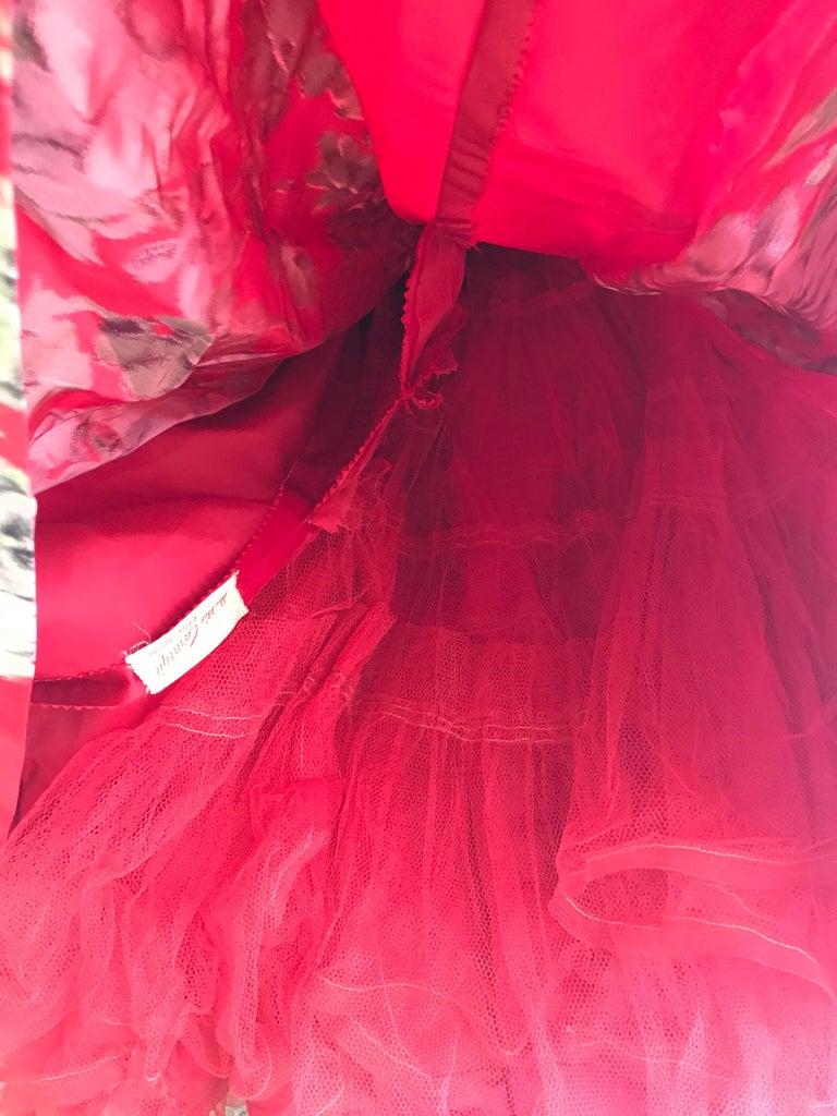 1950s Hattie Carnegie Red Silk Floral Print Cocktail Dress For Sale 5