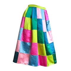 1950s Hattie Carnegie Silk Color Block Skirt