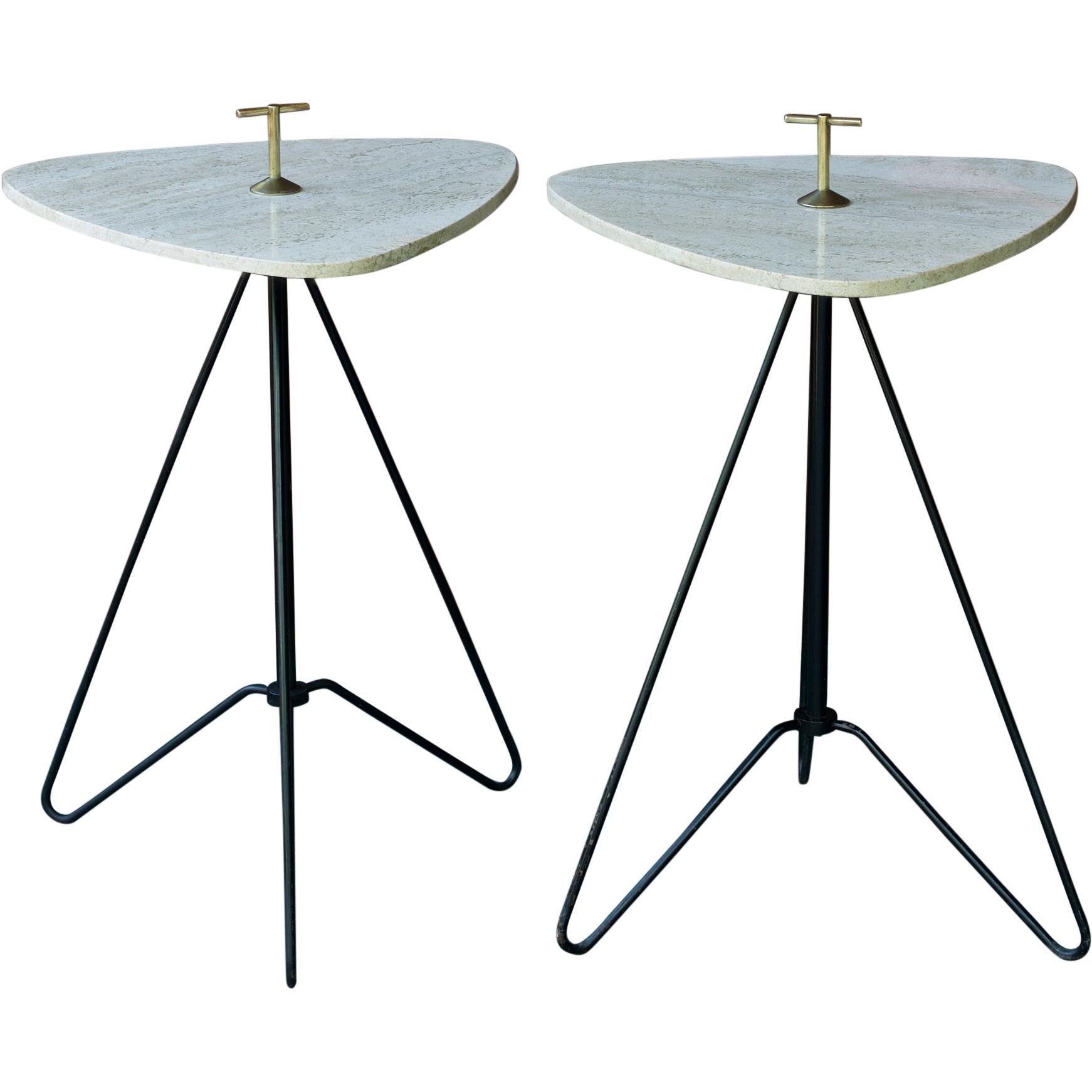 1950s Heifetz Travertine Bronze Smoke Stand Tables Atomic Post-War Modern Pair