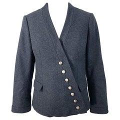1950s Helen Rose Grey Wool Asymmetrical Buttons Vintage 50s Gray Jacket Coat