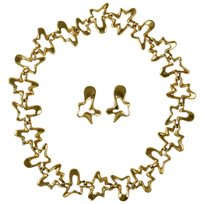 """1950s Henning Koppel for Georg Jensen """"Splash"""" Gold Necklace and Earrings Set"""