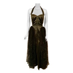 1950's Henri Bendel Black Satin and Lace Halter Top Evening Gown