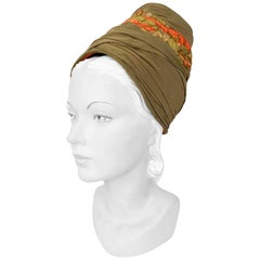 1950s High-Fashion Structured Turban in Olive and Tropical Print