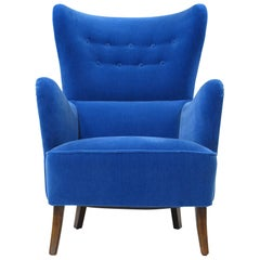 1950s Highback Lounge Chair in Blue Mohair