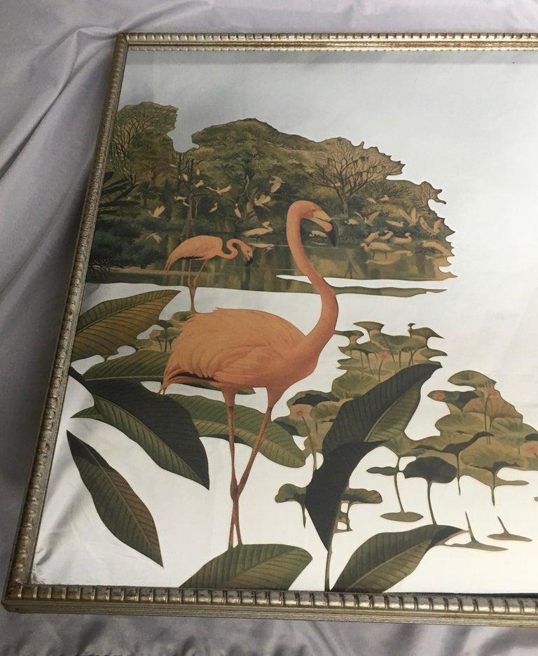 Mid-Century Modern 1950s Hollywood Palm Regency Tropical Flamingo Bird Wall Art Mirror For Sale