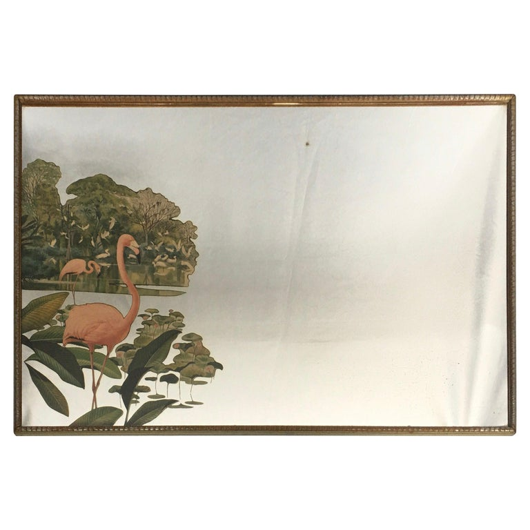 1950s Hollywood Palm Regency Tropical Flamingo Bird Wall Art Mirror For Sale