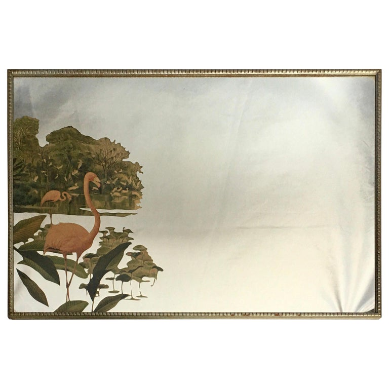 1950s Hollywood Palm Regency Tropical Flamingo Bird Wall Art Mirror For Sale