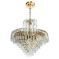 1950s Hollywood Regency Cut Crystal Cascading Waterfall Chandelier