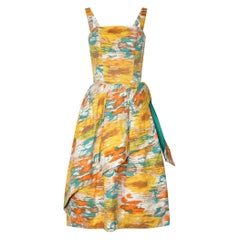 1950s Horrockses Cotton Abstract Print Dress