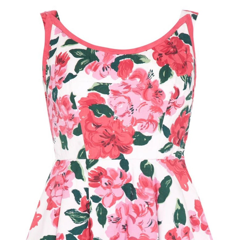 Pink 1950s Horrockses Floral Cotton Dress With Scoop Back For Sale