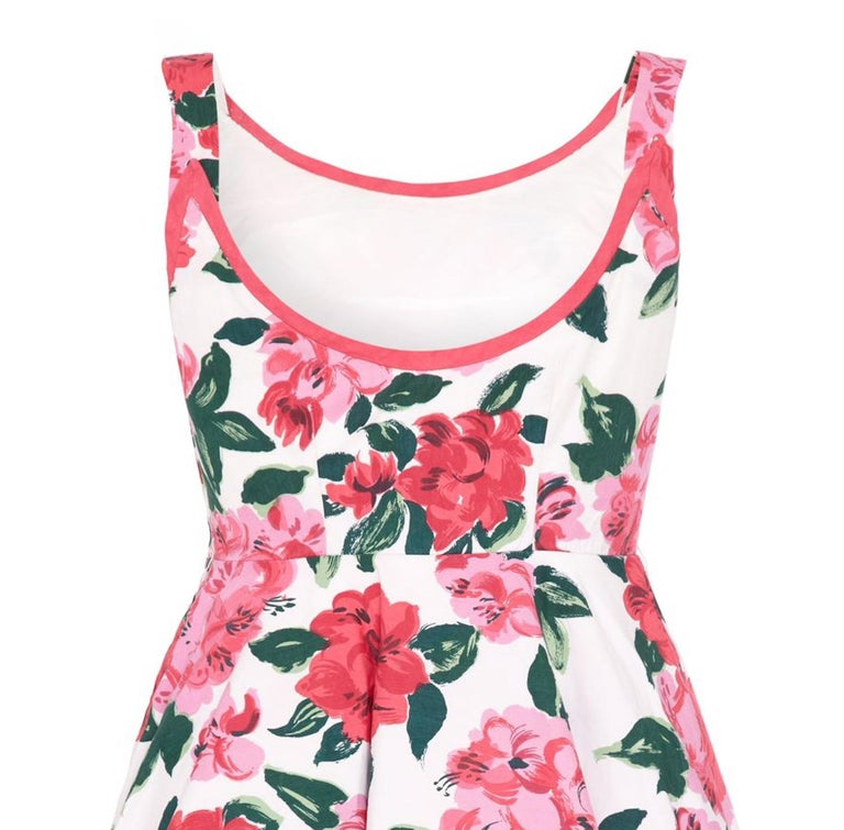 1950s Horrockses Floral Cotton Dress With Scoop Back In Excellent Condition For Sale In London, GB