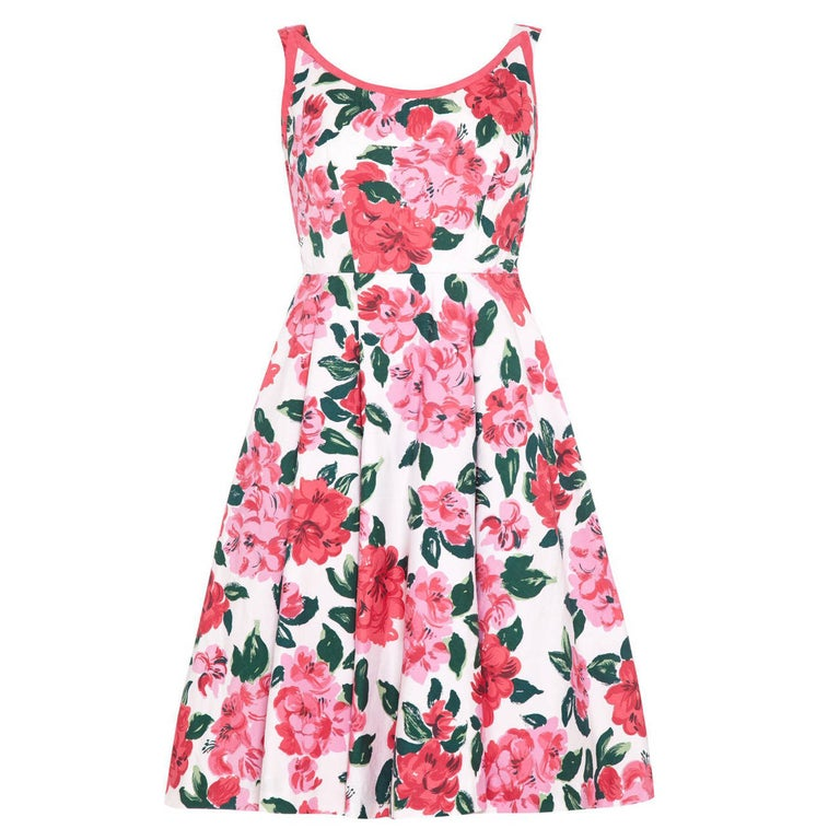 1950s Horrockses Floral Cotton Dress With Scoop Back For Sale