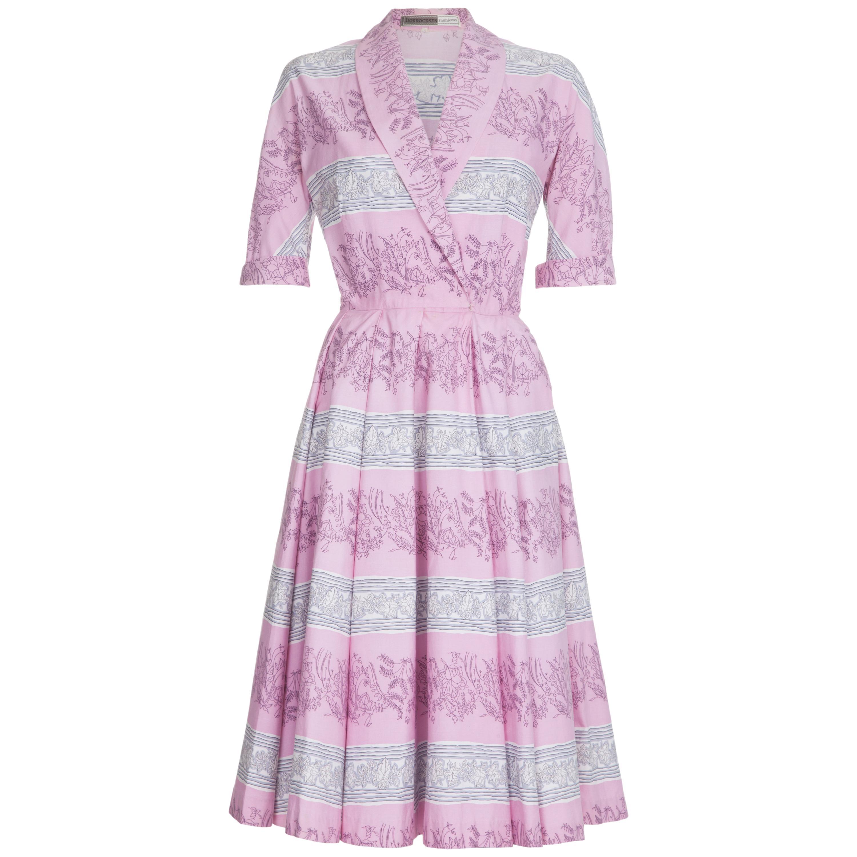 1950s Horrockses Pink Cotton Novelty Ivy Leaf Print Dress
