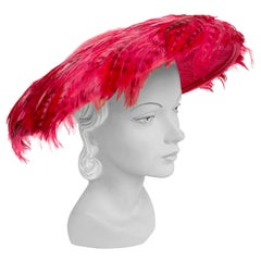 1950s Hot Pink Feathered Picture Hat