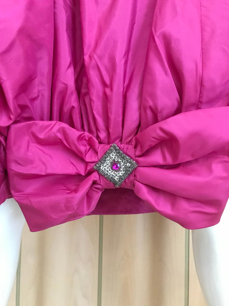 1950s Hot Pink Silk Strapless Cocktail Dress For Sale 2
