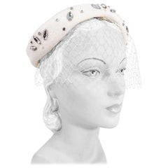 1950s I. Magnin Cream Felt Hat with Rhinestones and Net