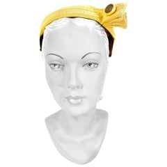 1950s I. Magnin Yellow Rolled Grosgrain Hat