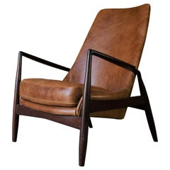 1950s Ib Kofod-Larsen Seal Chair in Afromosia Teak and Cognac Leather