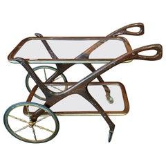 1950s Iconic Mid-Century Modern Mahogany Italian Bar Cart by Cesare Lacca