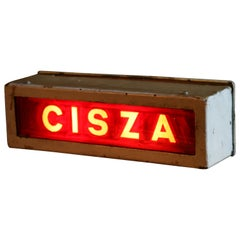 "1950s Illuminated Theater Sign ""Cisza"", Meaning ""Silence"""