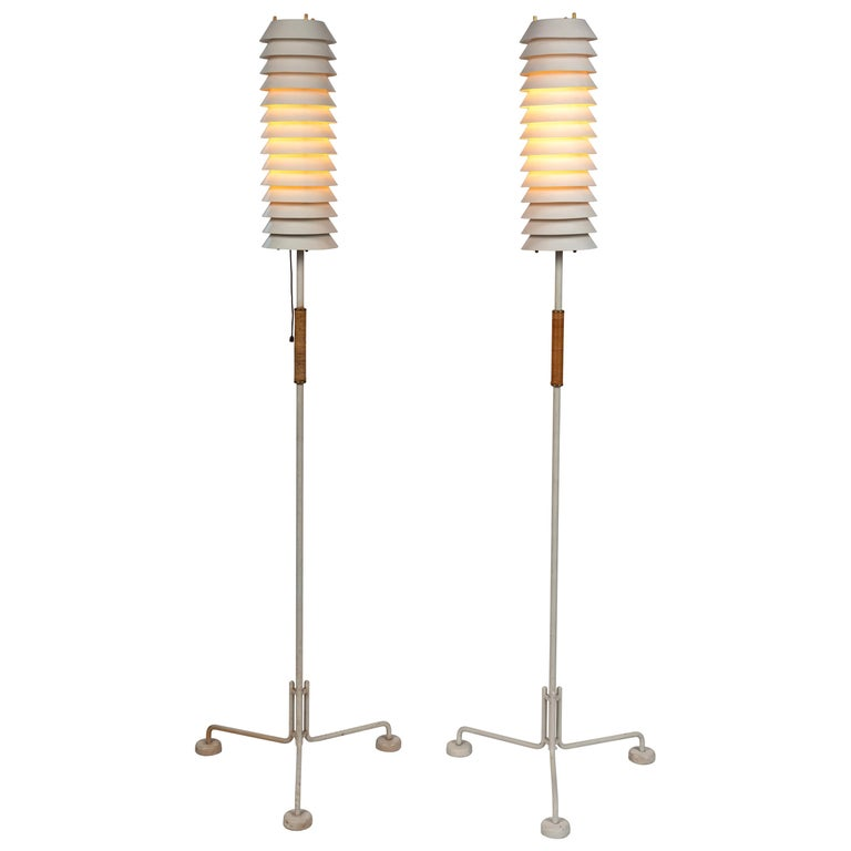 "1950s Ilmari Tapiovaara 'Maija"" Tripod Floor Lamps for Asko/Hienoterä For Sale"