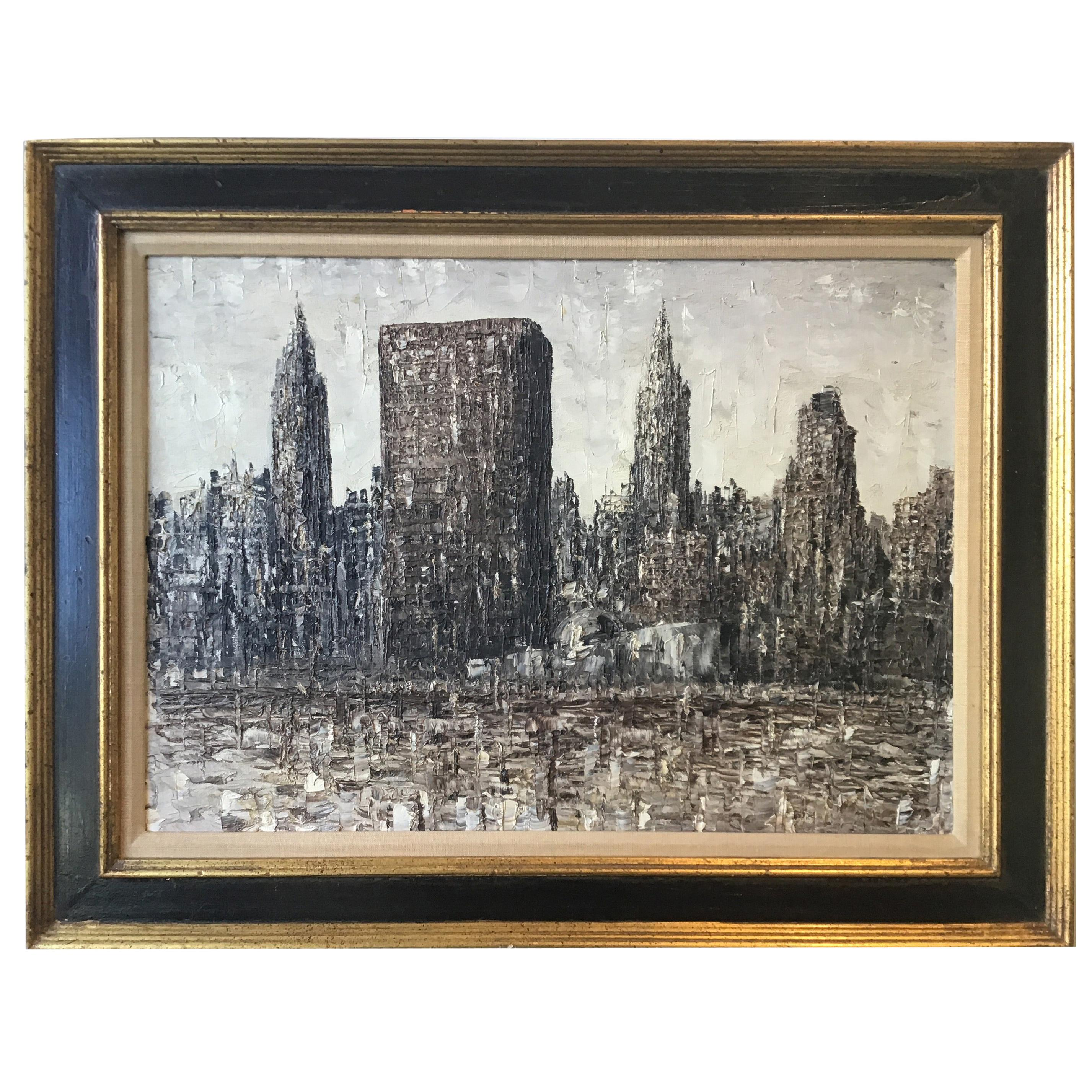 1950s Impasto Painting of New York City Skyline Showing the U.N. Building