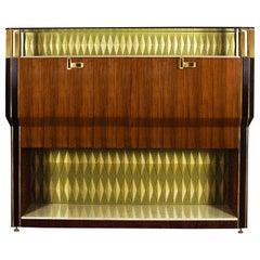 1950s Important Dry Bar, Mahogany, Zebra Wood, Onyx, Glass, Brass, Italy