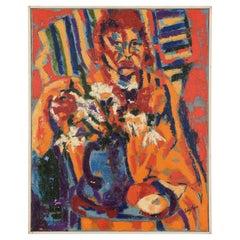 1950's Impressionist Portrait Oil Painting