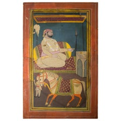 1950s Indian Colourful Drawing of a Royal with Horse