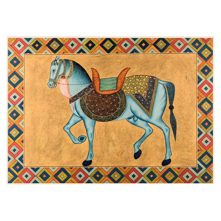 """1950s Indian Painting """"Walking Horse"""" Oil on Canvas For Sale"""