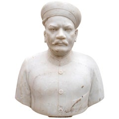 1950s Indian White Marble Bust of a Nobleman with Hat
