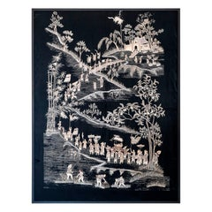 1950s Indochinese Embroidered Black and Gold Silk Framed Wall Panel
