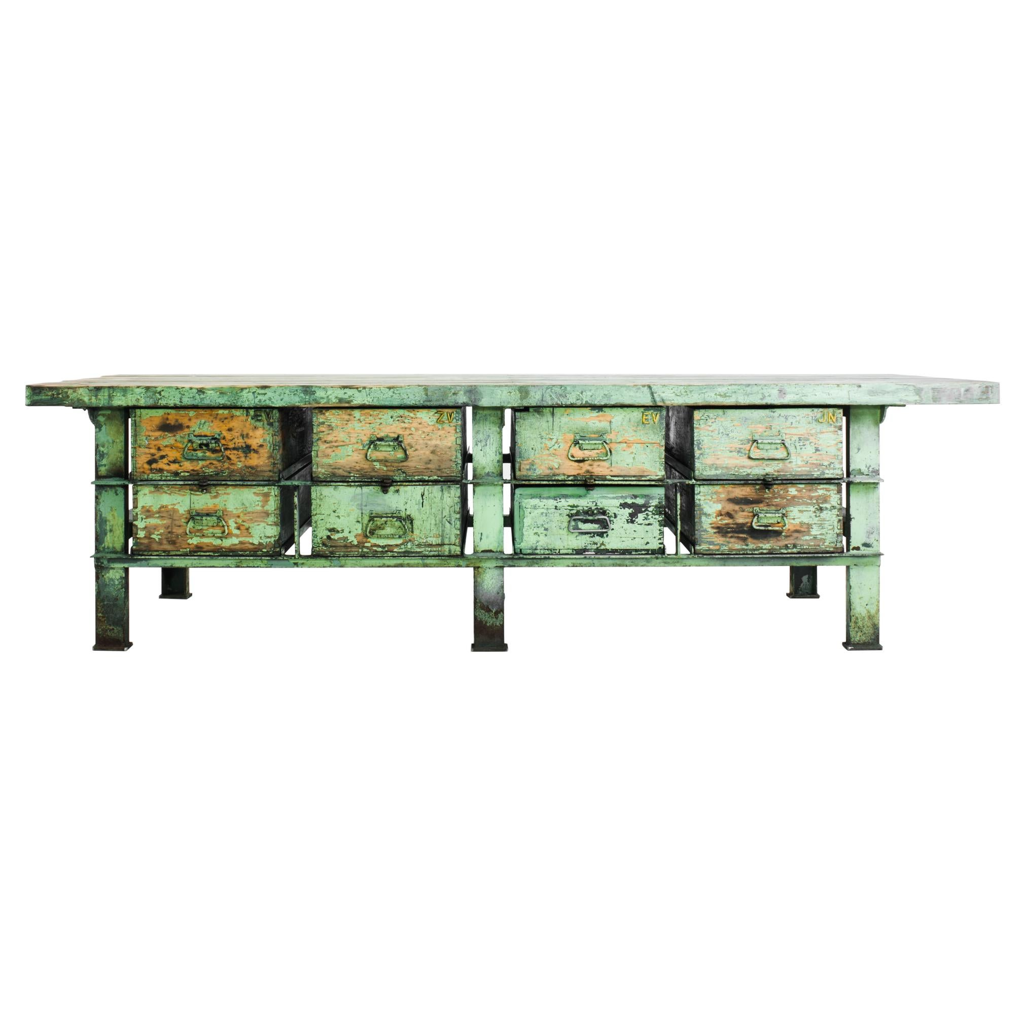 1950s Industrial Czech Metal and Wood Green Worktable